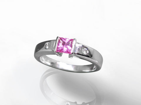 SKU 280-15343 - 14K White Gold Pink Sapphire & Diamond Ring