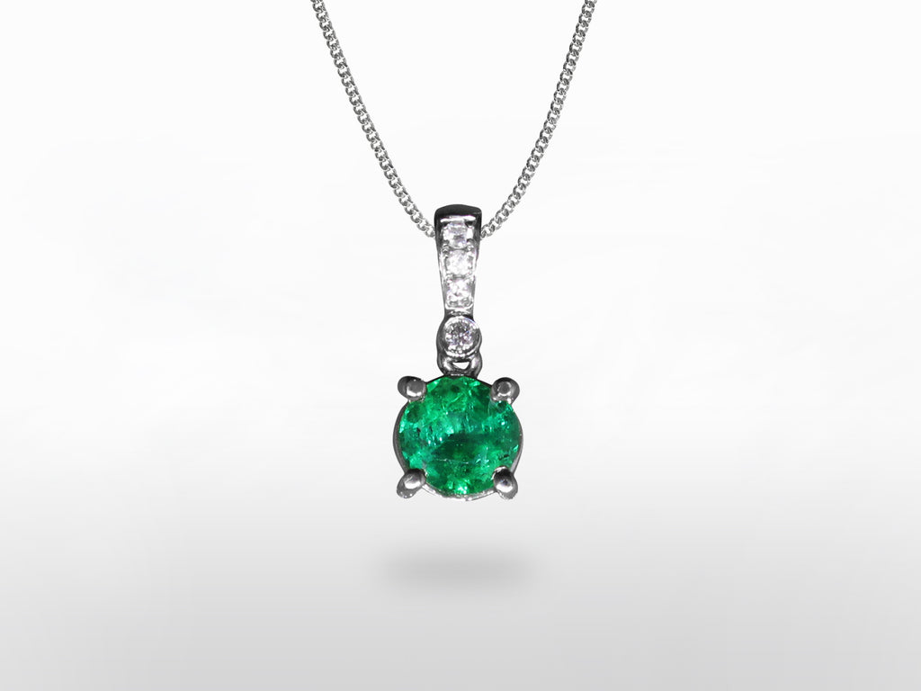 SKU 280-15371 - 18K White Gold Emerald & Diamond Pendant