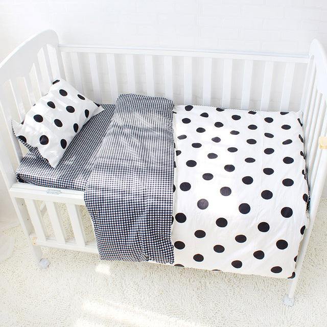Dot Patterned Black & White 3Pcs Cotton Crib Set