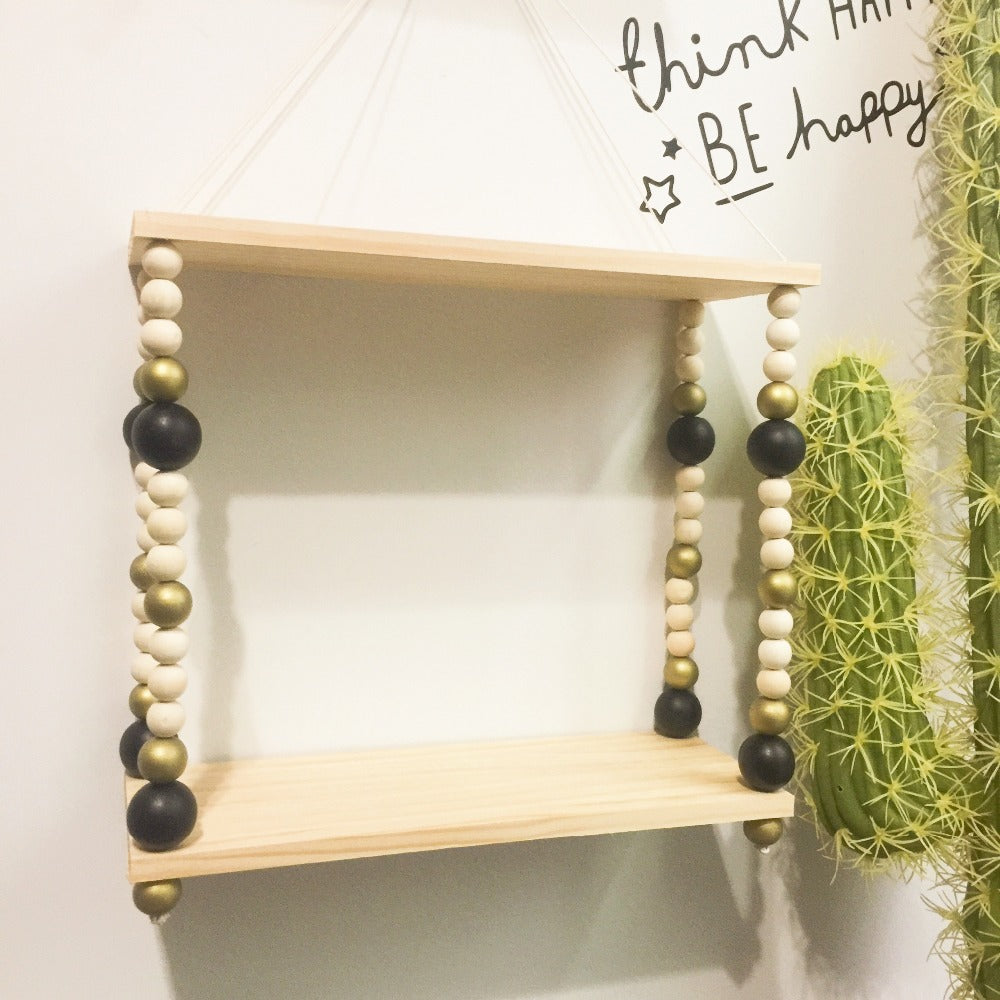 Beaded Wooden Double Swing Shelves