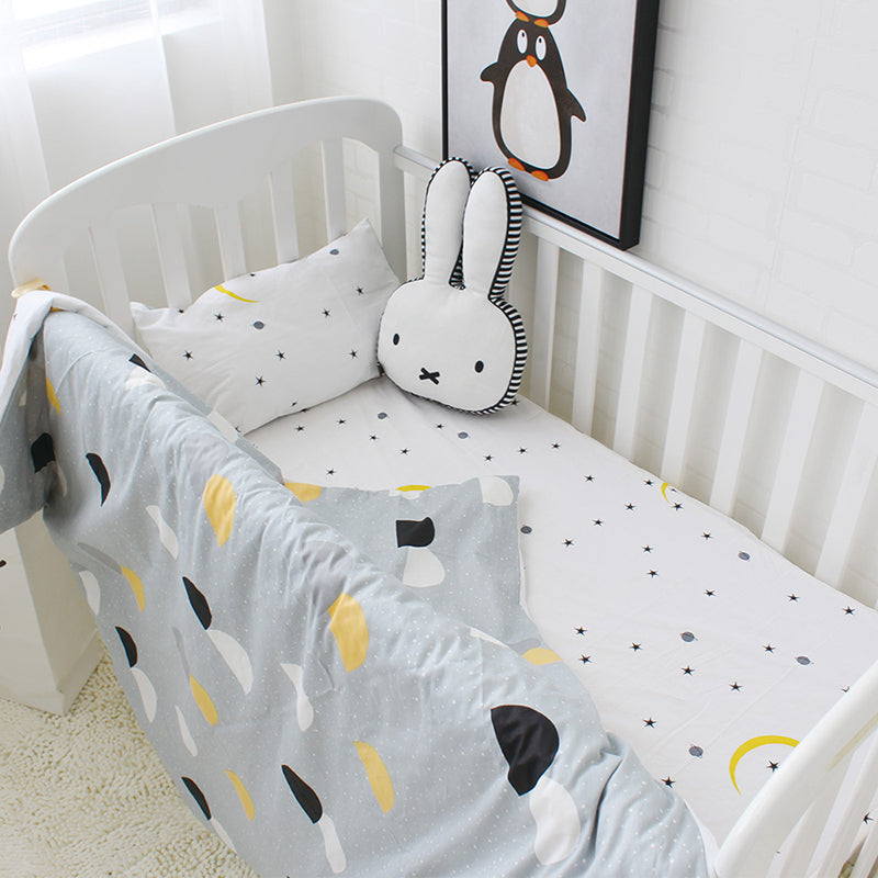 Half Circle Patterned 3Pcs Cotton Crib Set