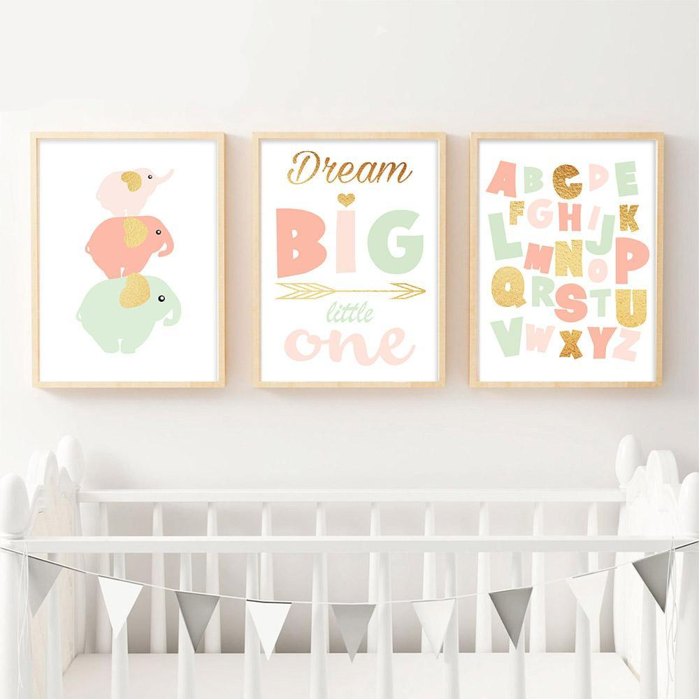 Elephant Nursery Quote Wall Art Canvas Poster
