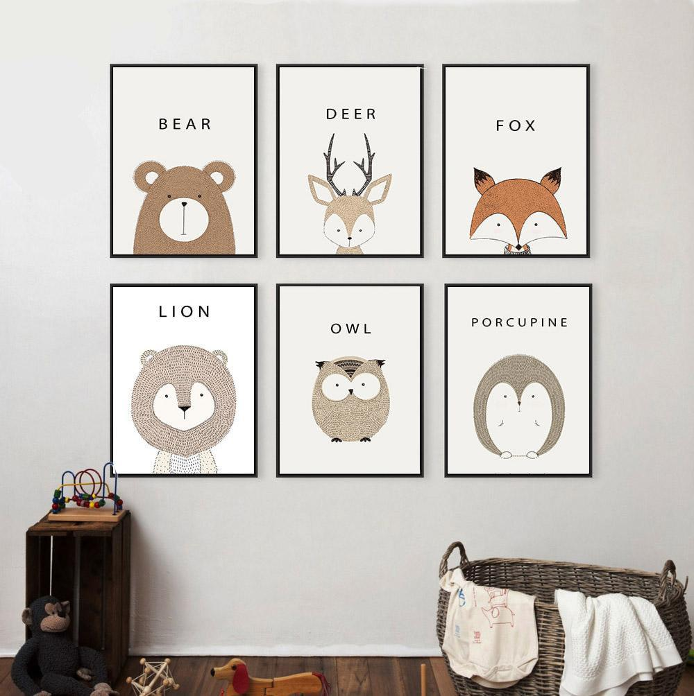 Deer, Lion, & Bear Minimalist Art Canvas Poster
