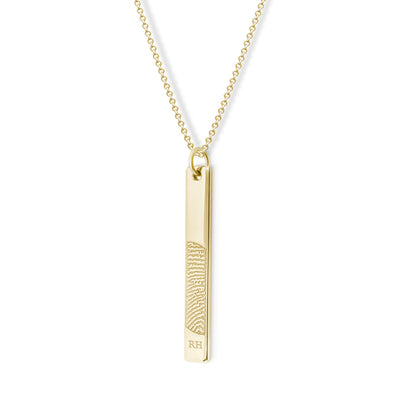 14k Yellow Gold Vertical Flat Bar Pendant