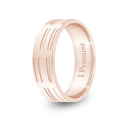6mm Rose Gold Flat DNA Ring