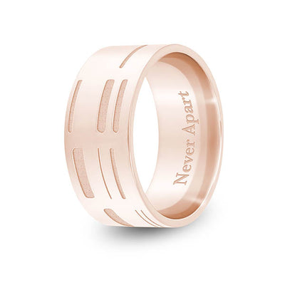 8mm Rose Gold Flat DNA Ring