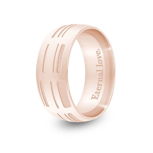 8mm Rose Gold Half-Round DNA Ring