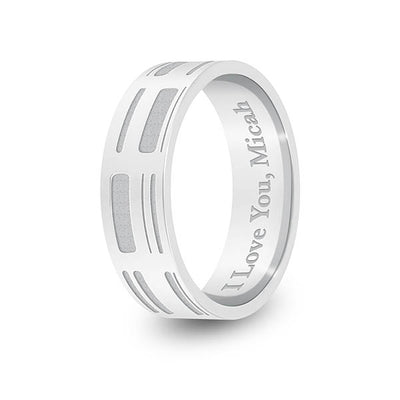 6mm White Gold Flat DNA Ring