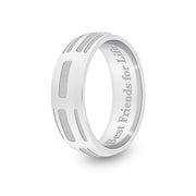 6mm White Gold Half-Round DNA Ring