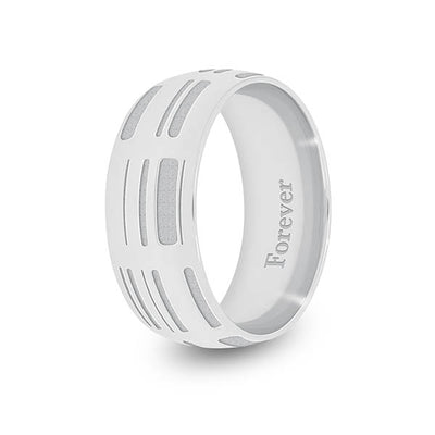 8mm White Gold Half-Round DNA Ring