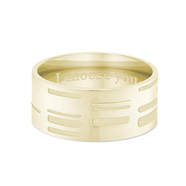 8mm Yellow Gold Flat DNA Ring