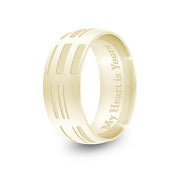 8mm Yellow Gold Half-Round DNA Ring