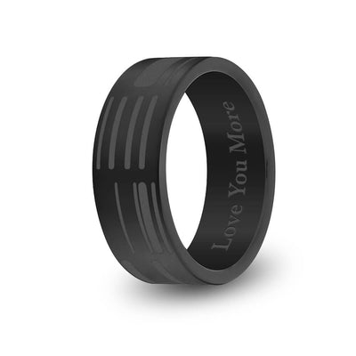 8mm Matte Black Titanium Flat DNA Ring