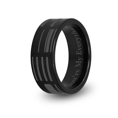 8mm Black Titanium Flat DNA Ring