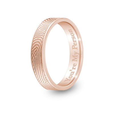 4mm Rose Gold Flat Fingerprint Ring