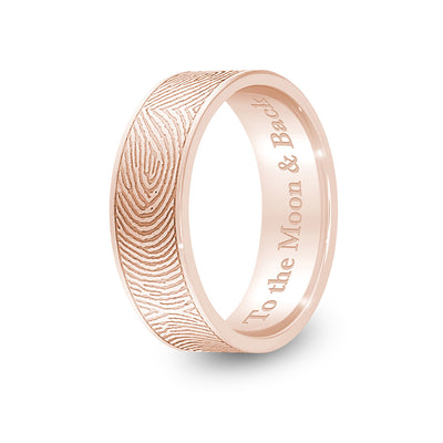 6mm Rose Gold Flat Fingerprint Ring