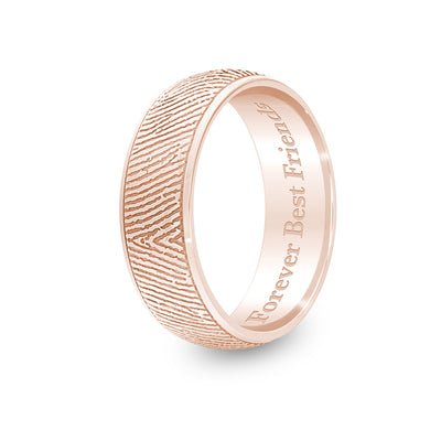 6mm Rose Gold Half-Round Fingerprint Ring