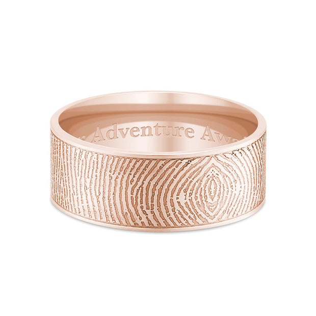 8mm Rose Gold Flat Fingerprint Ring