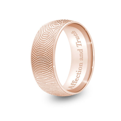 8mm Rose Gold Half-Round Fingerprint Ring