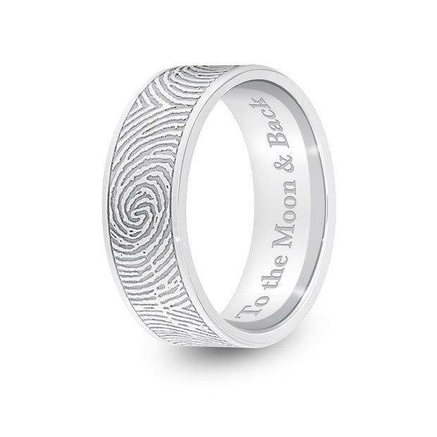 6mm White Gold Flat Fingerprint Ring