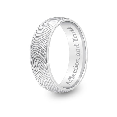 6mm White Gold Half-Round Fingerprint Ring