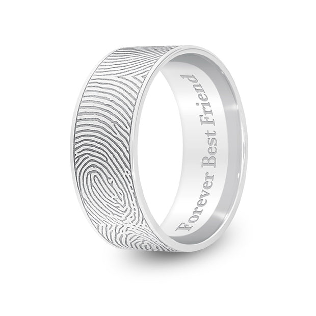 8mm White Gold Flat Fingerprint Ring