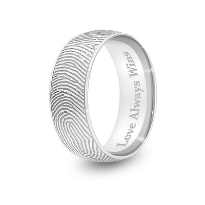 8mm White Gold Half-Round Fingerprint Ring