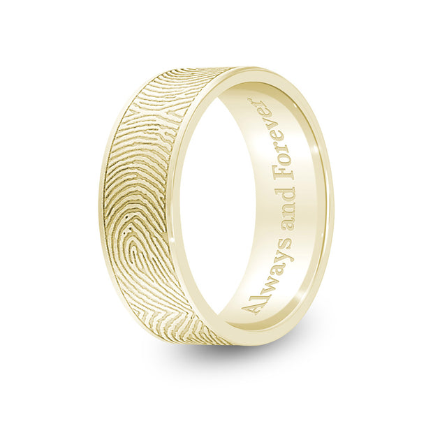 6mm Yellow Gold Flat Fingerprint Ring