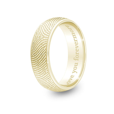 6mm Yellow Gold Half-Round Fingerprint Ring