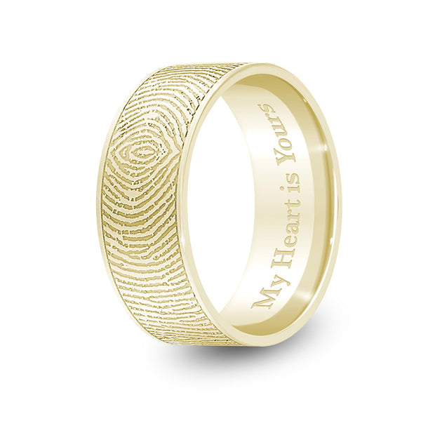 8mm Yellow Gold Flat Fingerprint Ring