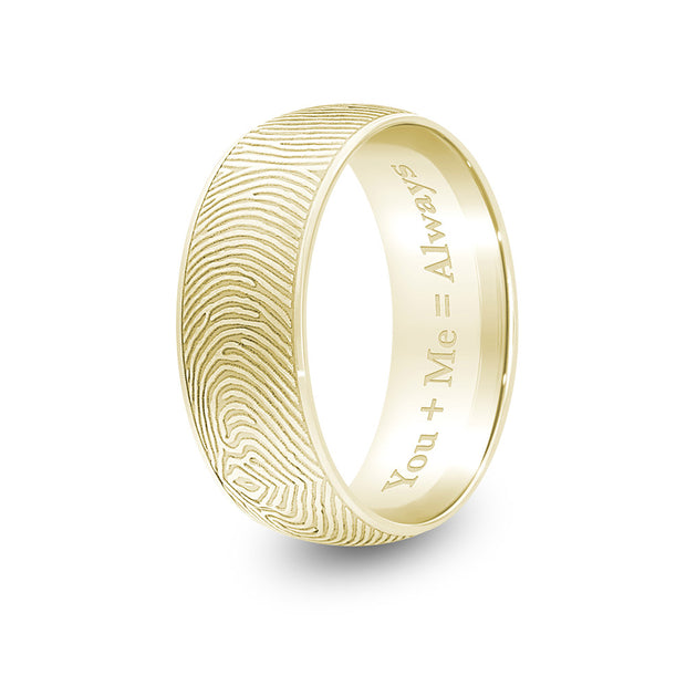 8mm Yellow Gold Half-Round Fingerprint Ring