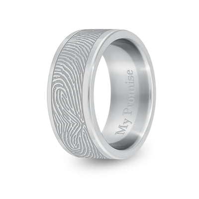 8mm Titanium Flat Fingerprint Ring