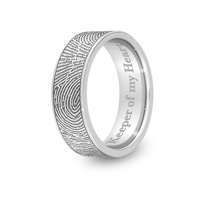 7mm Stainless Steel Flat Fingerprint Ring