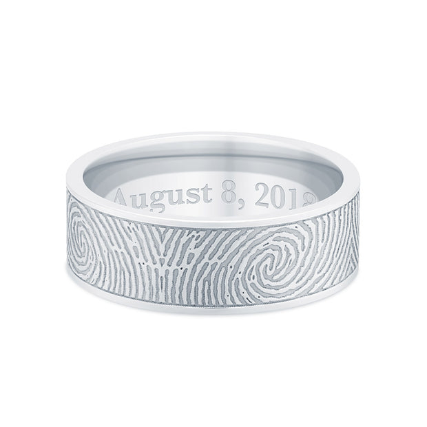 6mm Sterling Silver Flat Fingerprint Ring