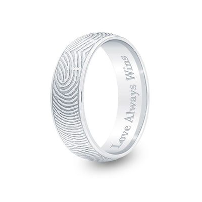 6mm Sterling Silver Half-Round Fingerprint Ring