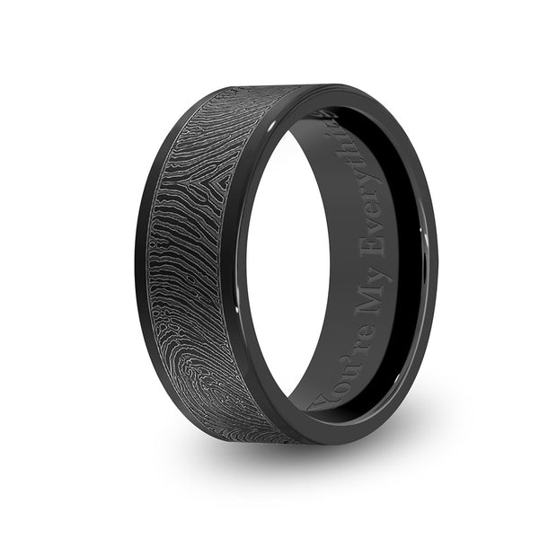 8mm Black Titanium Flat Fingerprint Ring