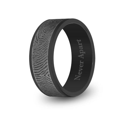 8mm Matte Black Titanium Flat Fingerprint Ring