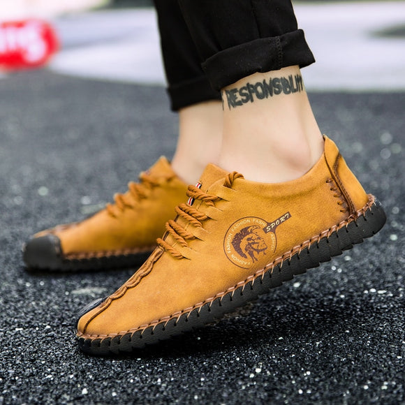 2018 New Comfortable Big size 38-48 Casual Shoes Loafers Men Shoes Quality Split Leather Shoes Men Flats Moccasins Shoes Hot
