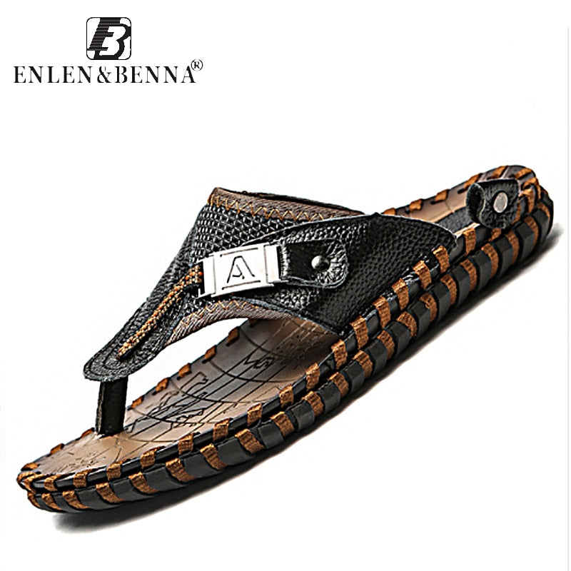 166a7da5cacd Brand Men s Luxury Flip Flops 2018 Genuine Leather Slippers Summer Beach  shoes For Men Fashion Outdoor ...