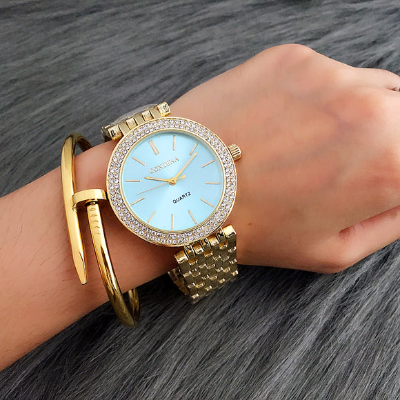 CONTENA Luxury Rhinestone Watch Women Watches Fashion Gold Women's Watches Ladies Watch Women Clock relogio feminino reloj mujer