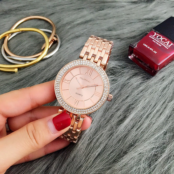 CONTENA Rose Gold Watch Women Watches Luxury Bracelet Women's Watches Rhinestone Ladies Watch Clock zegarek damski reloj mujer