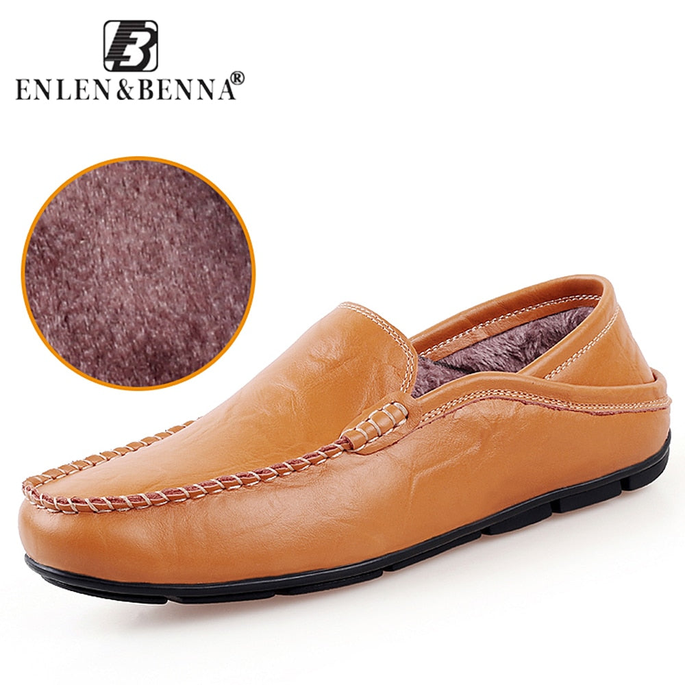 Casual Driving Shoes Men Genuine Leather Loafers Men Shoes Winter