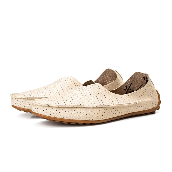 Driving Lazy Shoes Loafers Fashion Men Shoes Leather Peas Shoes Summer Breathable Business Casual Boat Shoes Sandal
