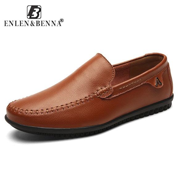 Enlenbenna Casual Men Shoes Slip-On Boat Split Leather Flat shoes Low-cut Sapato Masculino