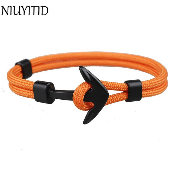 NIUYITID Men Anchor Bracelet Bangle For Women 18 Style Fashion Handmade Alloy Accessories Jewellery Dropshipping