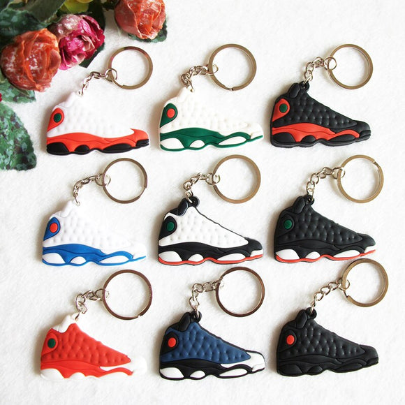Mini Silicone Sneaker Jordan 13 Keychain Key Chain Shoes Car Key Holder Woman Men Bag Charm Accessories Key Rings Pendant Gifts