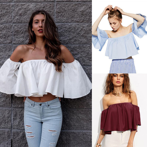2018 Summer New Style Fashion Stock Women Flare sleeve Tank tops Off shoulder tee shirt Crop Top Cropped
