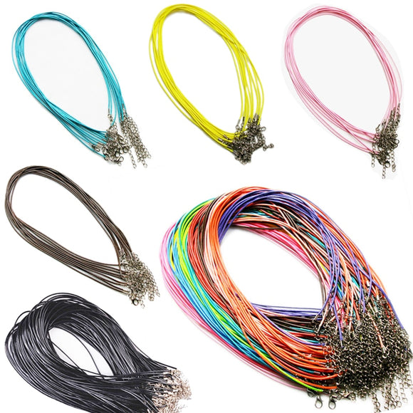 5 PCS 1.5 mm Leather Chains Necklaces Bracelet Pendant Charms Lobster Clasp DIY Jewelry Making Accessories String Cord Necklace