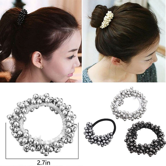 Girls Gum for Hair Semi-circle Beads Pearl Hair Bands Girl Ponytail Rubber Rope Women Elastic Hair Bands Female Hair Accessories