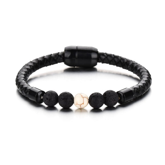 NIUYITID Lava Stone Bracelet For Men Women Black Genuine Leather Woven Rope Braclet Natural Stone Charm Jewelry Armband Heren